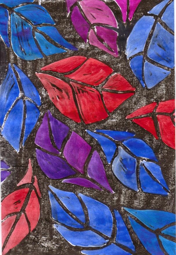 blue leaves linocut