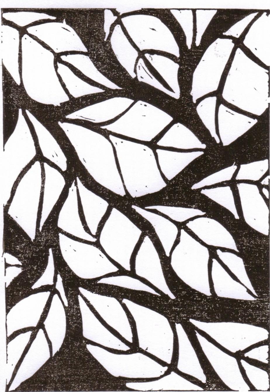 leaves linocut