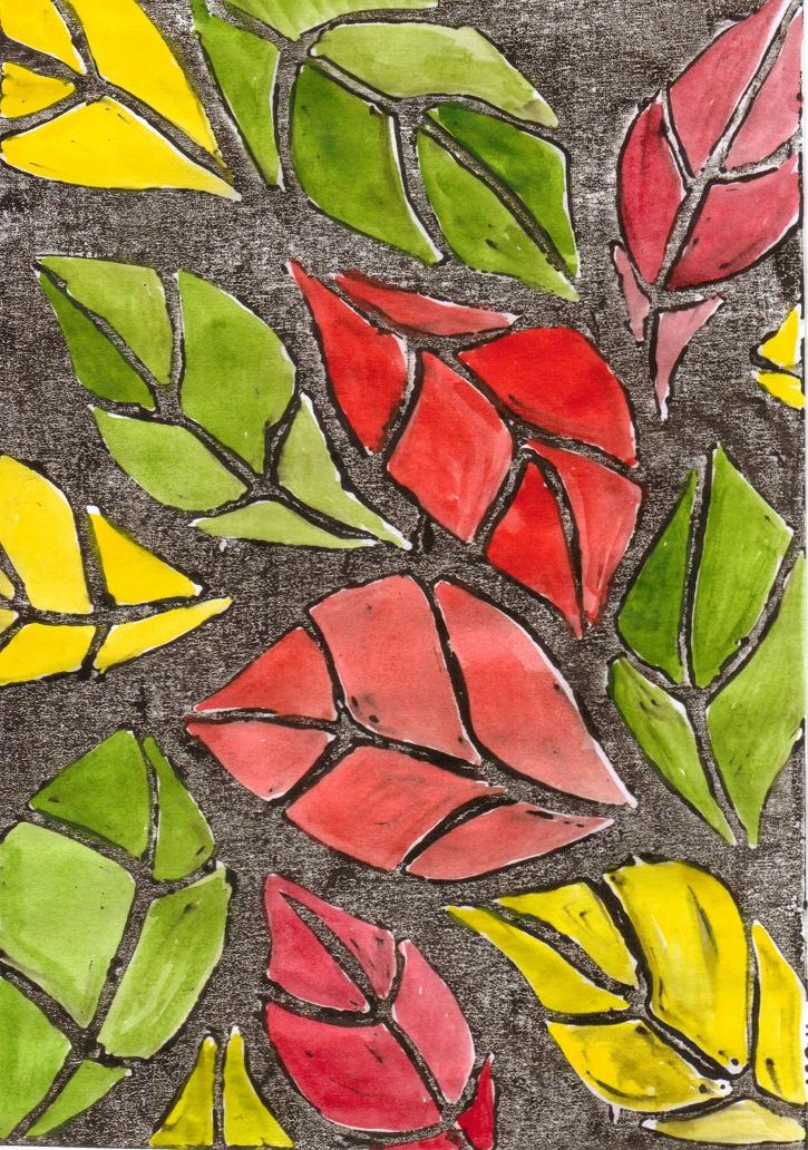 red leaves linocut
